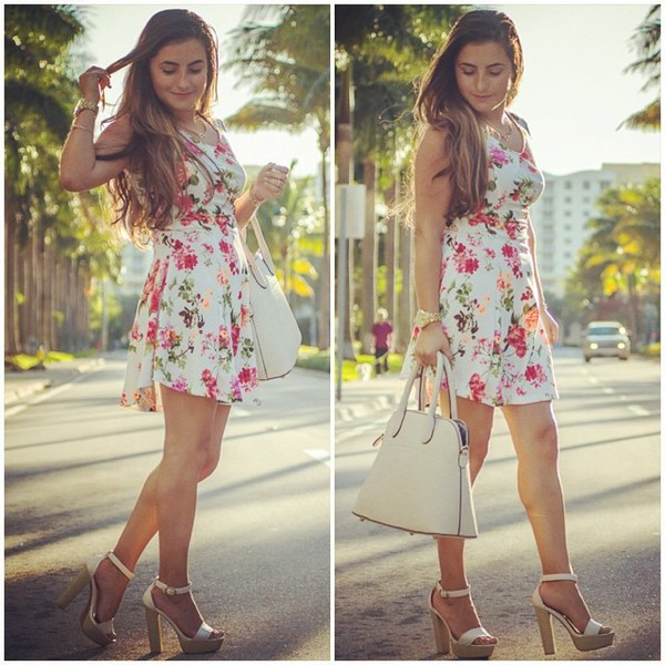 floral dress printed dress love shopping miami bag shoes