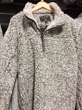 jacket grey winter sweater comfy coat fur coat sweater fluffy pullover zip heather grey collar true grit grey fuzzy jacket // pull over
