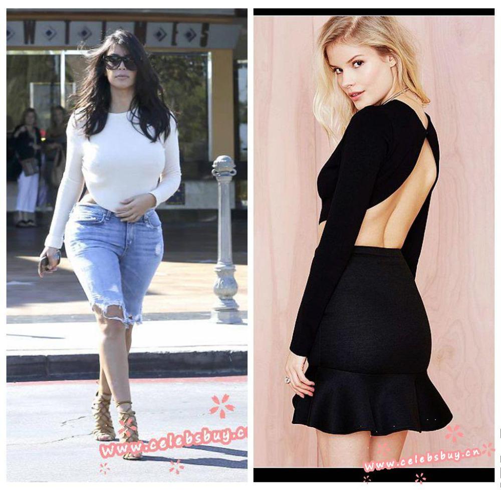 wholesale kim kardashian white sexy backless braless