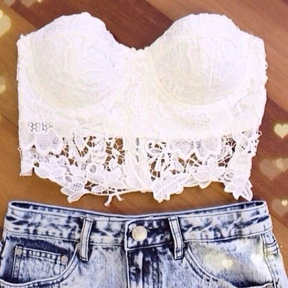 white t-shirt bralet lace crop tops corset summer crop