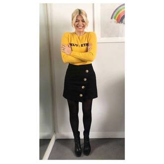 skirt black holly willoughby asymmetrical skirt yellow sweater