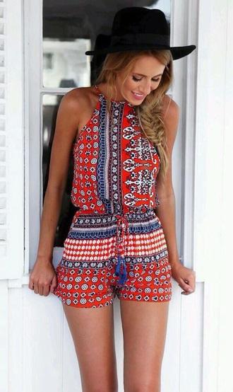 romper orange multicoloured pattern hat pajamas boho cute top