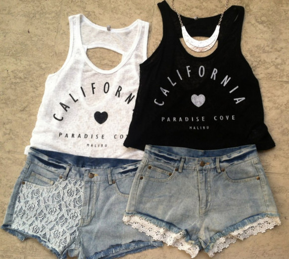 shorts california t-shirt crop tops white crop tops