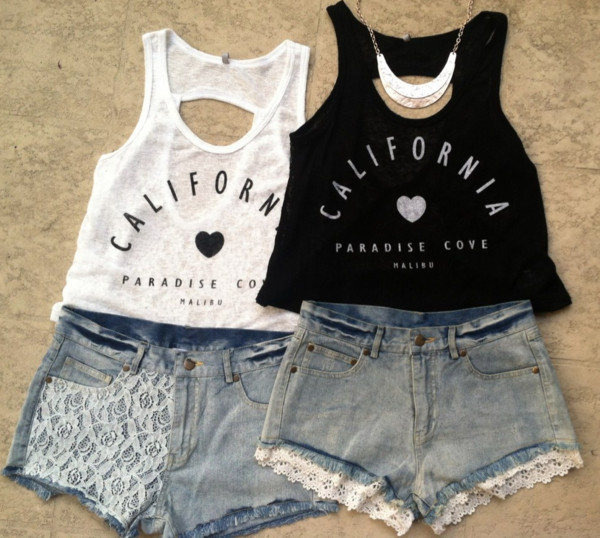 t-shirt crop tops white crop tops california shorts shirt black and white tank top