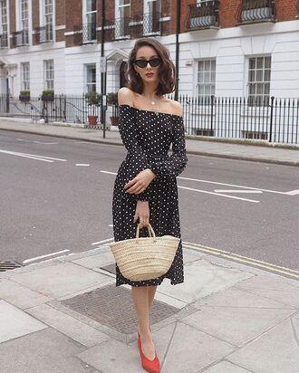 shoes dress off the shoulder polka dots black dress bag pumps red pumps sunglasses