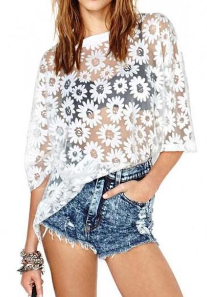 White daisy print hollow