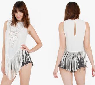shirt top blouse fringe sleeveless details junior designer asymmetrical