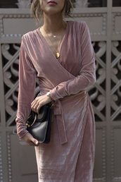 dress,tumblr,pink dress,light pink,pink,wrap dress,v neck,v neck dress,necklace,gold necklace,jewels,jewelry,gold jewelry,bag,buckle bag,black bag,long sleeve dress,long sleeves,velvet,velvet dress,holiday dress,holiday season,theclosetheroes,blogger