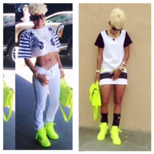 shoes neon yellow sneakers gucci dress shirt pants bag