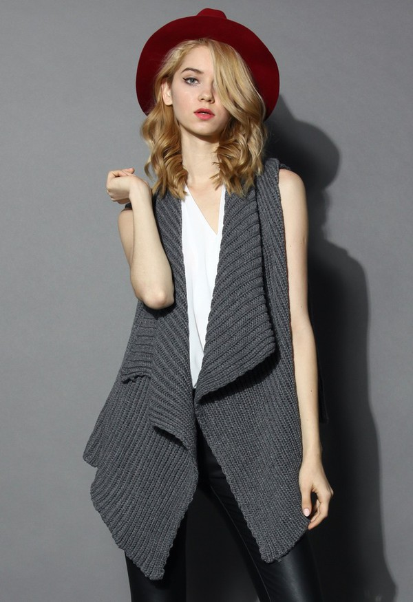 cardigan chicwish knitwear grey open cardigan waterfall drape