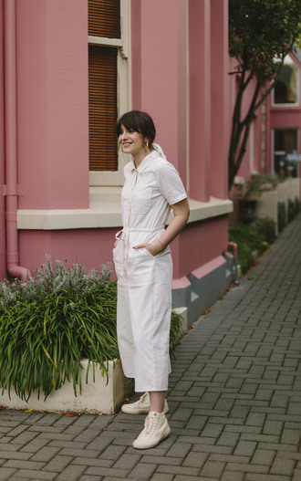 jumpsuit white jumpsuit shoes earrings white white shoes