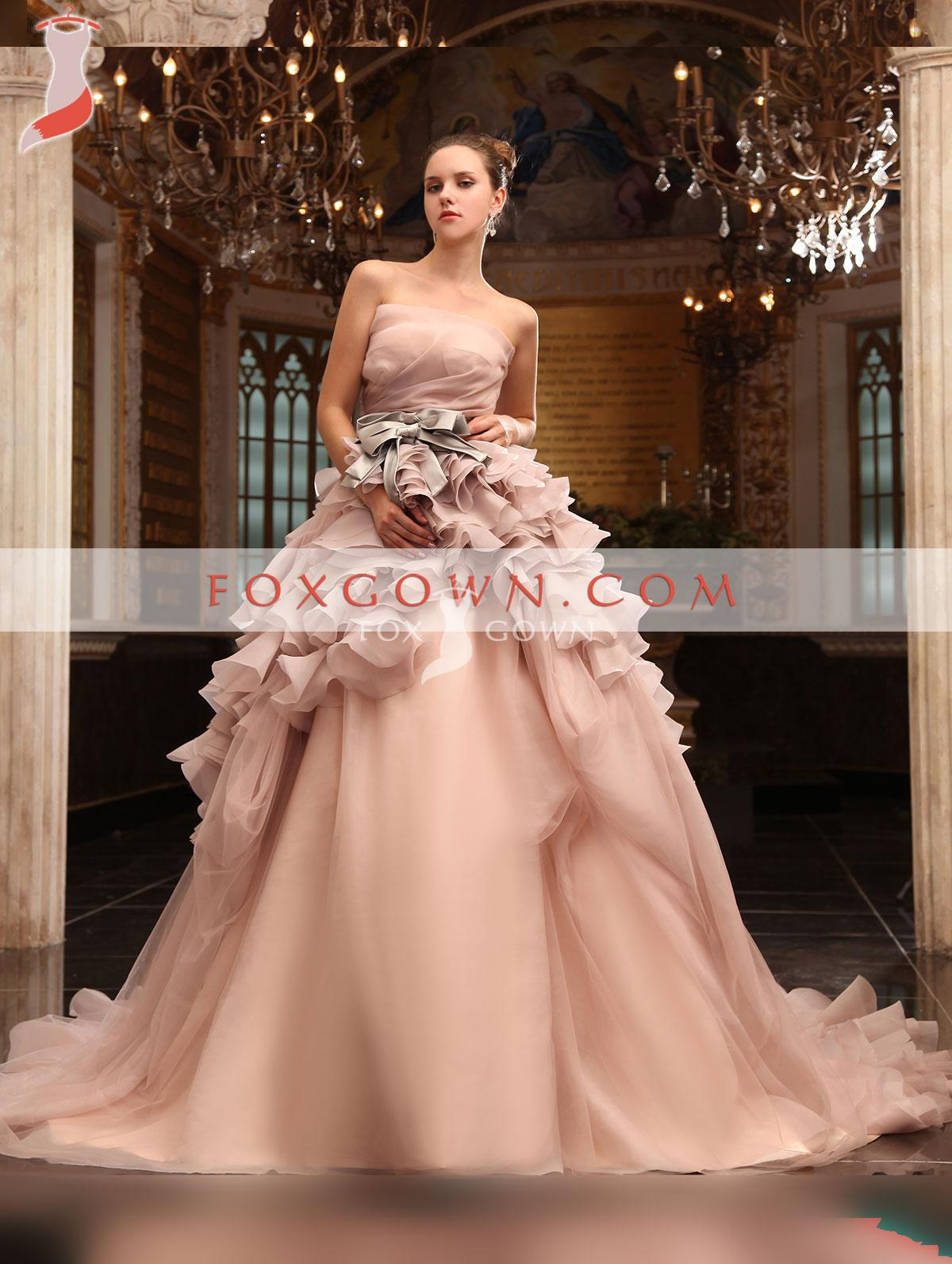 Blush Luxury A-line French Organza Wedding Dress with Ruffle Skirt and Long Train