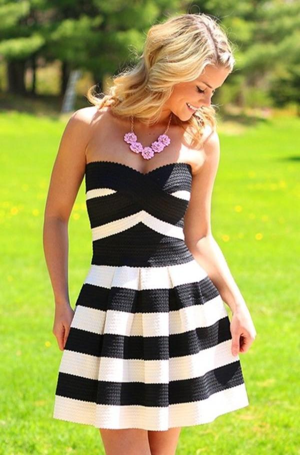 Black And White Striped Strapless Skater Dress Vicky Pattison New In