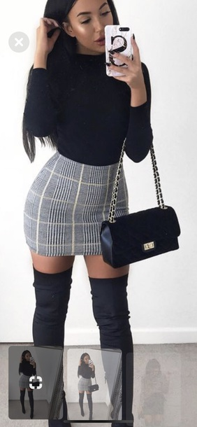 skirt light grey white stripes mini skirt tight stretchy top plaid skirt