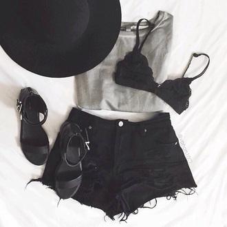 shorts denim shorts black shorts grey top grey t-shirt tee top shirt grey shirt black shoes shoes sandals black sandals bralette black bralet hat black hat black bralette
