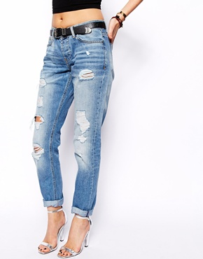 ASOS Brady Low Rise Slim Boyfriend Jeans in Vintage Wash with Rips ...