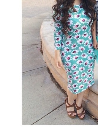 dress blue dress shoes hair accessory daisy dress floral dress fashion style bright colorful dress