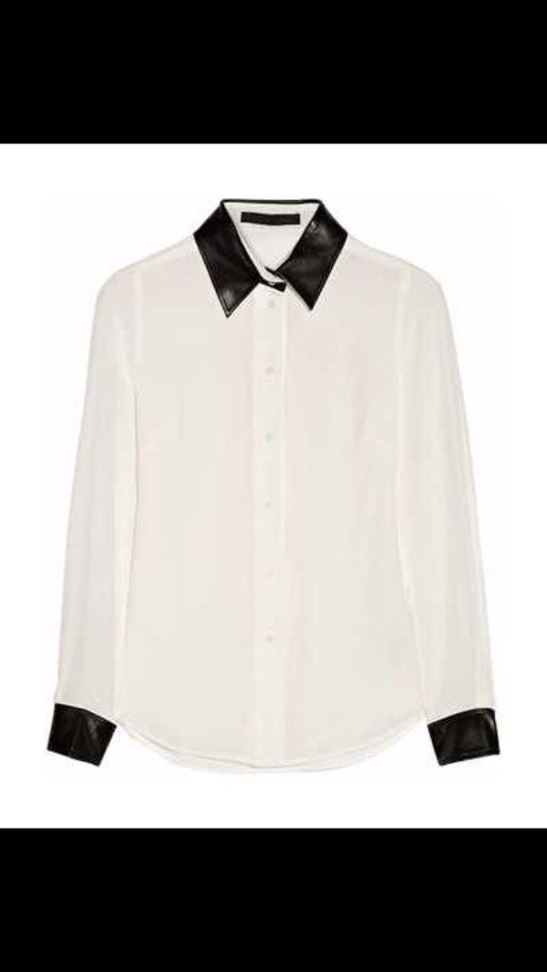 blouse karl lagerfeld black leather silk white