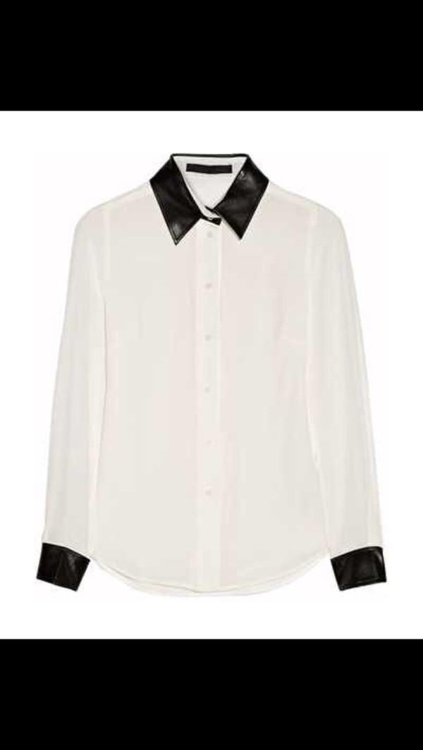 blouse karl lagerfeld black leather silk white