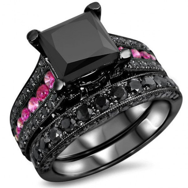 black and pink wedding ring sets - Wedding Decor Ideas