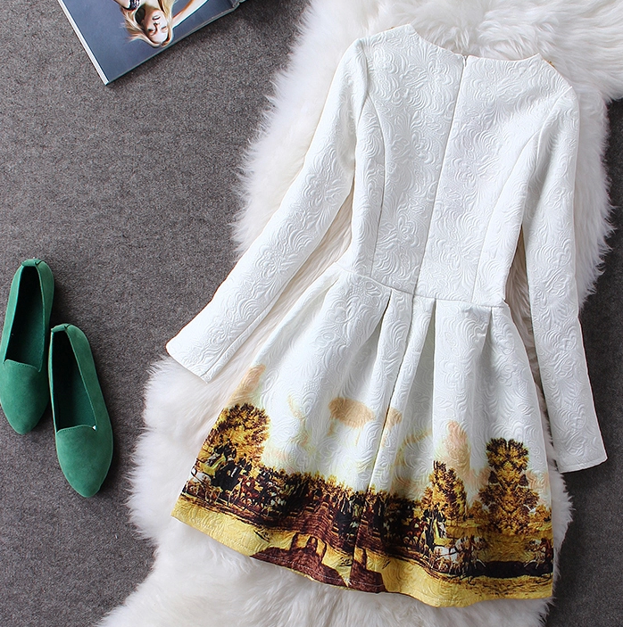 Fashion long sleeve flower hot dress