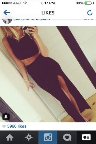 skirt black dress slit maxi skirt
