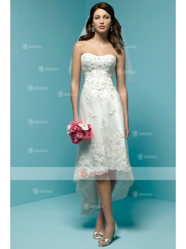 Hot Selling Under 200 Enchanting A Line Strapless Asymmetrical Knee Length Lace Wedding Dress