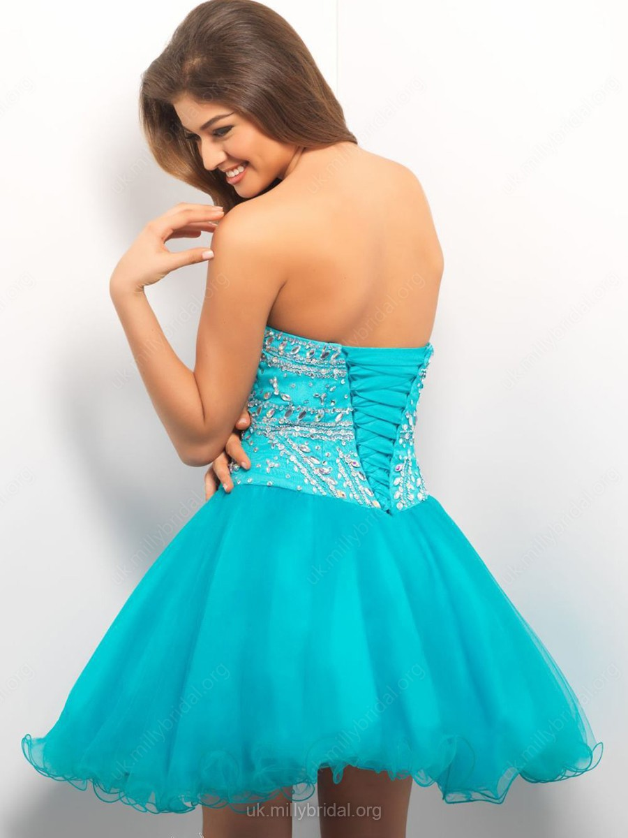 Sweetheart Blue Tulle Lace-up Crystal Detailing Short/Mini Prom Dresses in UK