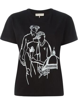 t-shirt shirt embroidered black top