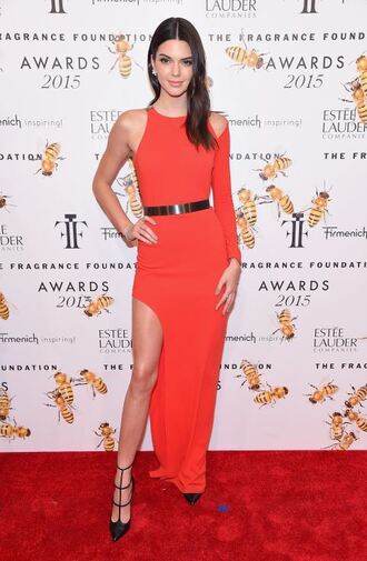 dress red dress pumps kendall jenner one shoulder asymmetrical slit dress gown prom dress shoes