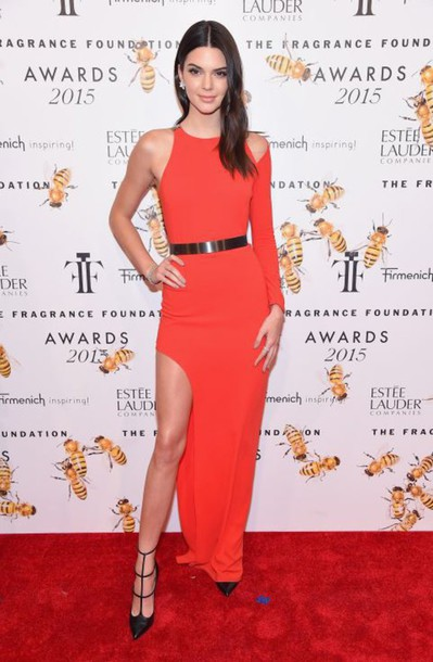 Dress: red dress, pumps, kendall jenner, one shoulder ...