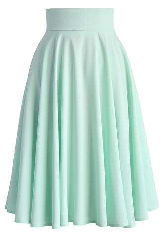 skirt chicwish midi skirt mint skirt pleated skirt summer skirt