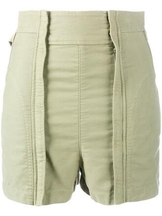 shorts high women cotton green