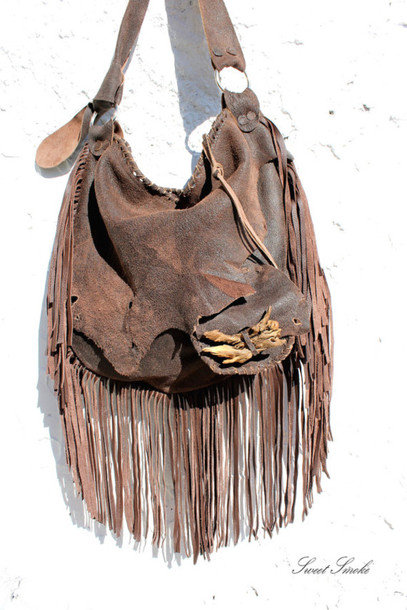 Leather Hippie Bag Bag Tribal Leather Bag Raw