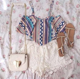 tank top crops tops with overalls shorts bag shoes shirt aztec tribal pattern crop tops