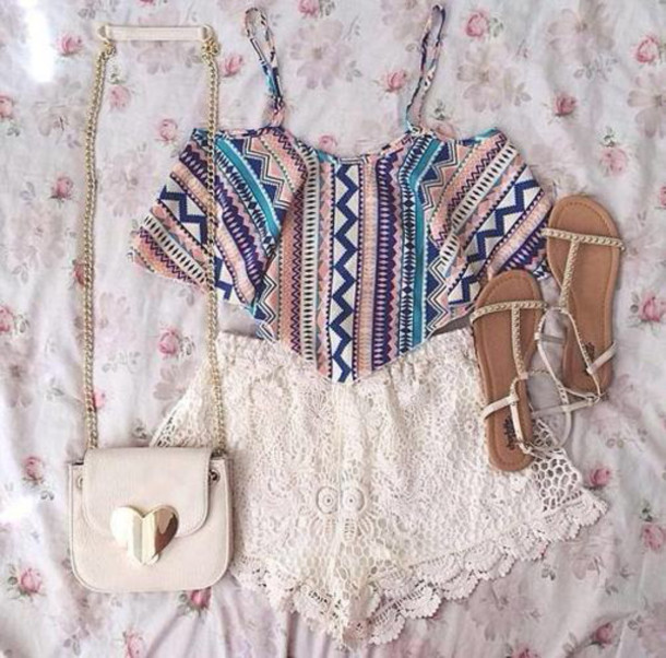 tank top crops tops with overalls shorts bag shoes shirt aztec tribal pattern crop tops aztec crop top lace shorts studded sandals