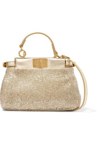metallic beaded bag shoulder bag leather gold
