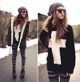 sweater sunglasses leggings cardigan god croix pullover coat cross black and white jacket