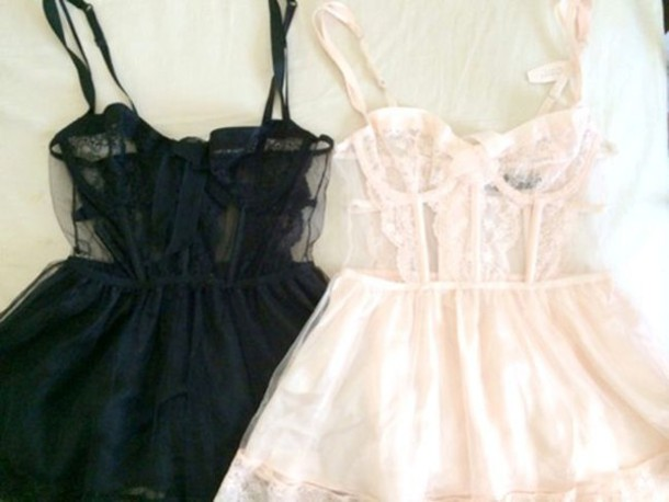 dress pastel pink goth lingerie cute kawaii black aesthetic