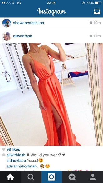 dress orange dress cleavage dress maxi dress