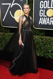 dress,diane kruger golden globe awards 2018 black criss cross halter neck cape dress online