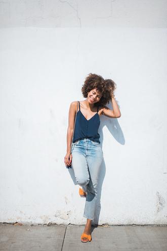 top tumblr blue top camisole denim jeans blue jeans shoes slide shoes