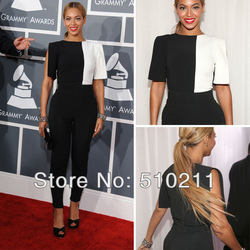 Online Shop Beyonce Knowles Red Carpet Dress Sexy Round neck Short Sleeves Sheath Floor length Spandex Jumpsuits Evening Celebrity Dresses|Aliexpress Mobile