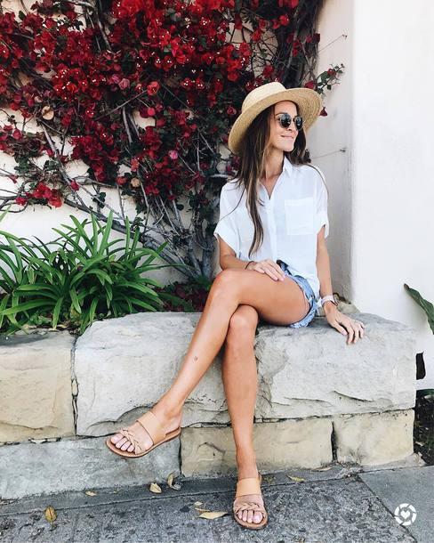04275f38e739 shirt hat tumblr white shirt sun hat shorts denim denim shorts sandals flat  sandals summer outfits