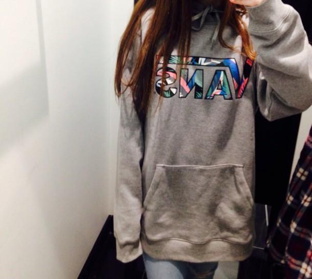7986c4acd75d27 coat floral vans skateboard grey hoodie