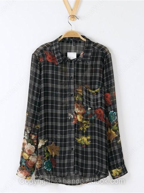 Black Lapel Long Sleeve Loose Plaid Flower Print Blouse - HandpickLook.com