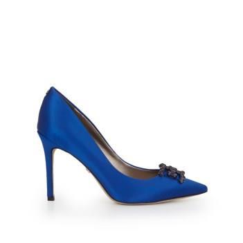 Sam Edelman Haddox Embellished Pointed Toe Heel Sapphire Blue Satin