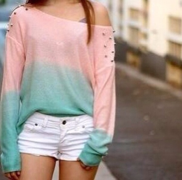 shirt off the shoulder sweater studs ombre shirt
