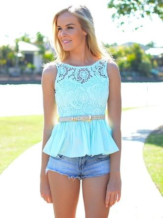 shirt top peplum mint colorful fashion cute minty sky blue lace
