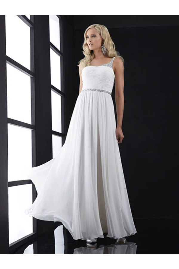 A-line Sleeveless Natural Waist Chiffon White Evening Gowns With Beaded